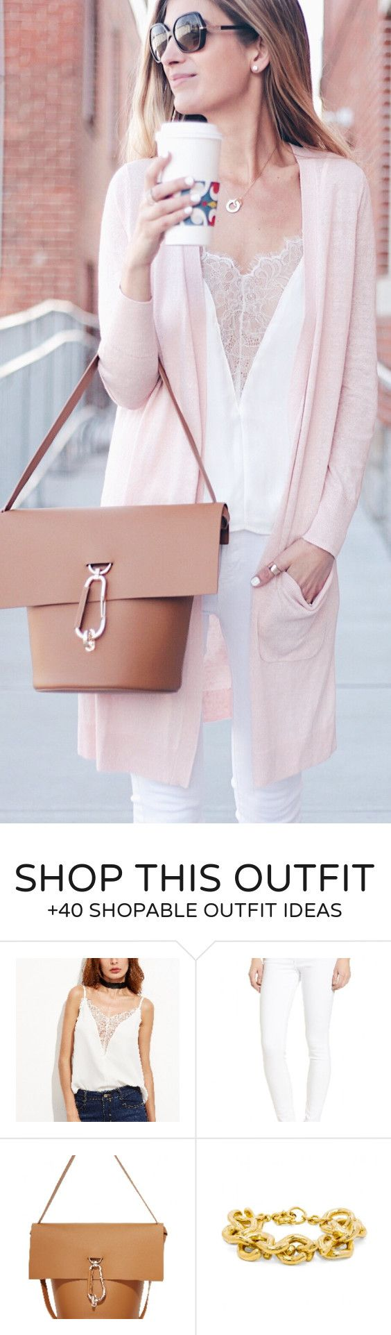 #spring #outfits /  Pink Cardigan / White Lace Cami / Camel Leather Tote Bag / White Skinny Jeans