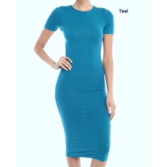 🔴BOGO FREE🔴 Teal Bodycon Style Midi Dress 🎉HP Office Style @the4lusters🎉  *NWOT *Crew neck *Short sleeve *Form fitting throughout-slim fit *Polyester/spandex *Teal   *NO TRADE/HOLD  *YES BUNDLES 👉🏻 CLOSET BLOWOUT SALE BOGO FREE 👉🏻 Please ask me to create your bundle ONLY when you are ready to purchase❗️  *PLEASE ASK QUESTIONS & READ DESCRIPTIONS❗️Measurements and sizing recommendations are for guidance purposes only. I cannot speak for every body type. Please understand that buying…