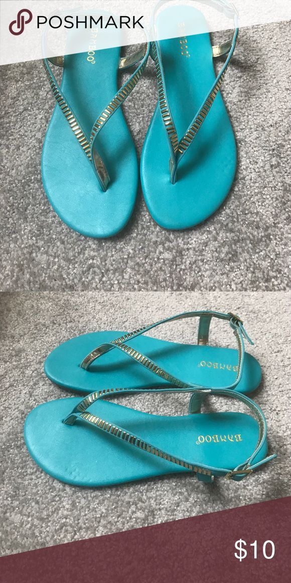 Blue green sandals Cute real sandals bamboo Shoes Sandals