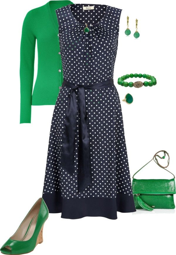 Love the spotty dress and the idea of a splash of colour but the green might be a bit much for me!