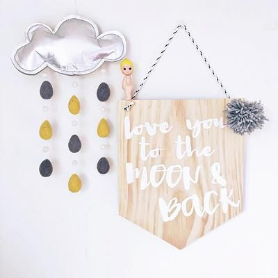 Love you to the moon & back wooden banner created by Simply Type. Gorgeous cloudy with a chance of rain by Little Puddles...