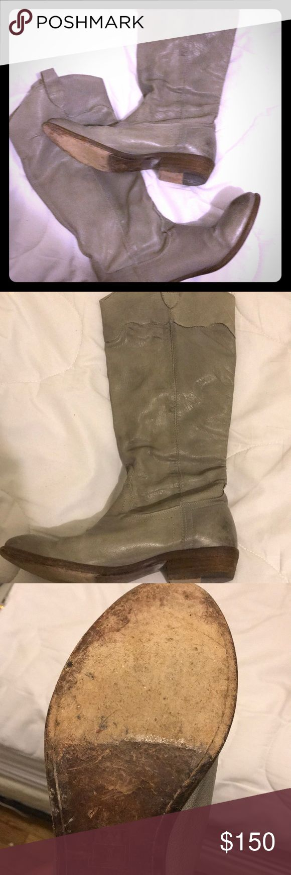 Grey Frye Boots Frye boots, good condition, nice leather sole, comfortable, Made in Mexico  I'm willing to negotiate IF you use the offer button Frye Shoes Combat & Moto Boots