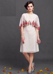 Party Wear White Chiffon Embroidered Work Kurti