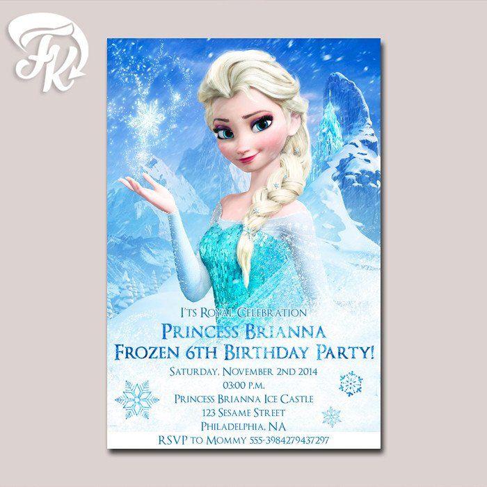 549 best birthday invitation card images on pinterest digital frozen disney princess elsa birthday party card digital invitation kid birthday stopboris Images