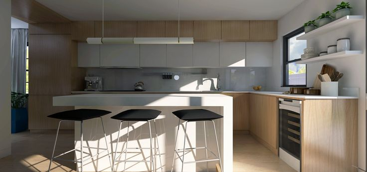 Custom Kitchen Design  Modern, clean lines, eat at island, waterfall stone countertop Oak Cabinets, floating shelves 3D by Lucas Alves