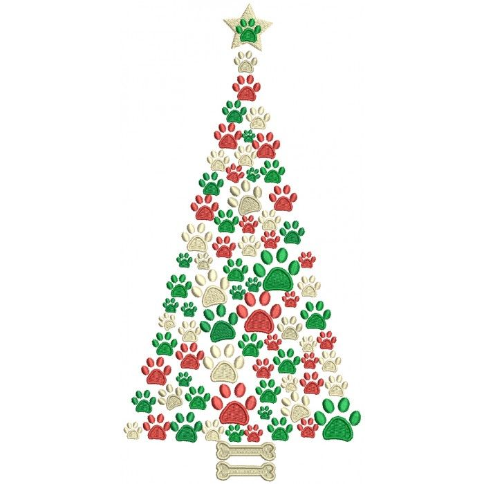 Dog Paw Christmas Tree Filled Machine Embroidery Design Digitized Pattern Embroidery Patterns Vintage Christmas Embroidery Patterns Machine Embroidery Designs
