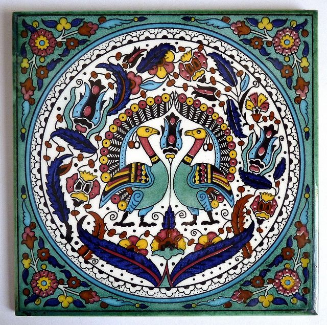 armenian-ceramic-tile-peacocks by Pangea Home Collections