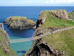 Carrick-a-Rede Rope Bridge, Northern Ireland.  Erected by fishermen who went to the island to catch salmon, the original bridge had only a single handrail. The rope bridge eventually became popular with tourists seeking a thrill, and the National Trust replaced it with a sturdier structure with two handrails.: Discov Northern, Carrickar Ropes, Carrick A Red Ropes, Real Wowz, Buckets Lists, Scariest Bridges, Northern Ireland, Antrim Ireland, Ropes Bridges