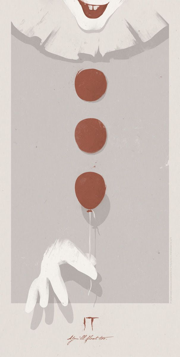 "geekynerfherder: ""'IT' by Patrik Svensson, a new officially licensed print release from Bottleneck Gallery. 18"" x 36"" screen print, with varnish layer in a limited edition of 150 for $45. FREE Balloon..."