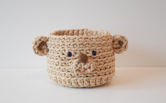 Storage box Teddy bear Storage basket Crochet basket Gift