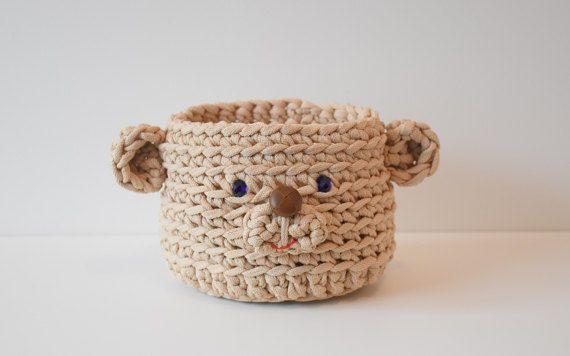 Storage box Teddy bear Storage basket Crochet basket Gift