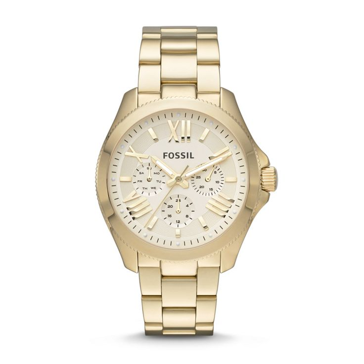 #FOSSIL Holiday 2013 campaign - Shop the Shoot Fossil Cecile Multifunction Stainless Steel Watch – Gold-Tone