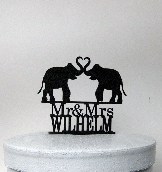 Personlaized Wedding Cake Topper  Elephant Wedding by Plasticsmith
