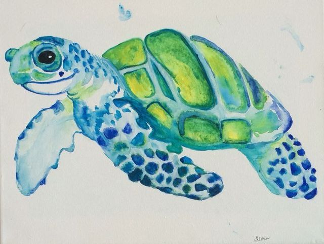 Pin By Sophie Masse On Art Turtle Watercolor Sea Turtle
