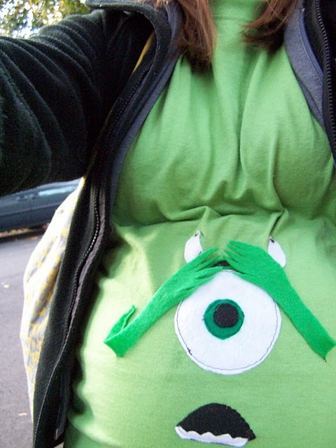 """If I'm ever pregnant at halloween again - Mike from Monsters Inc. Much better than the """"great pumpkin"""" that Tom suggested with Brock."""