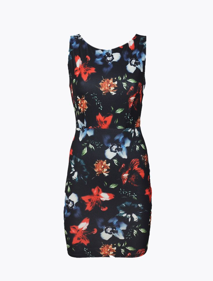 Rochie Pull&Bear Black Rochii Rochie Pull&Bear imprimeu floral , marime S