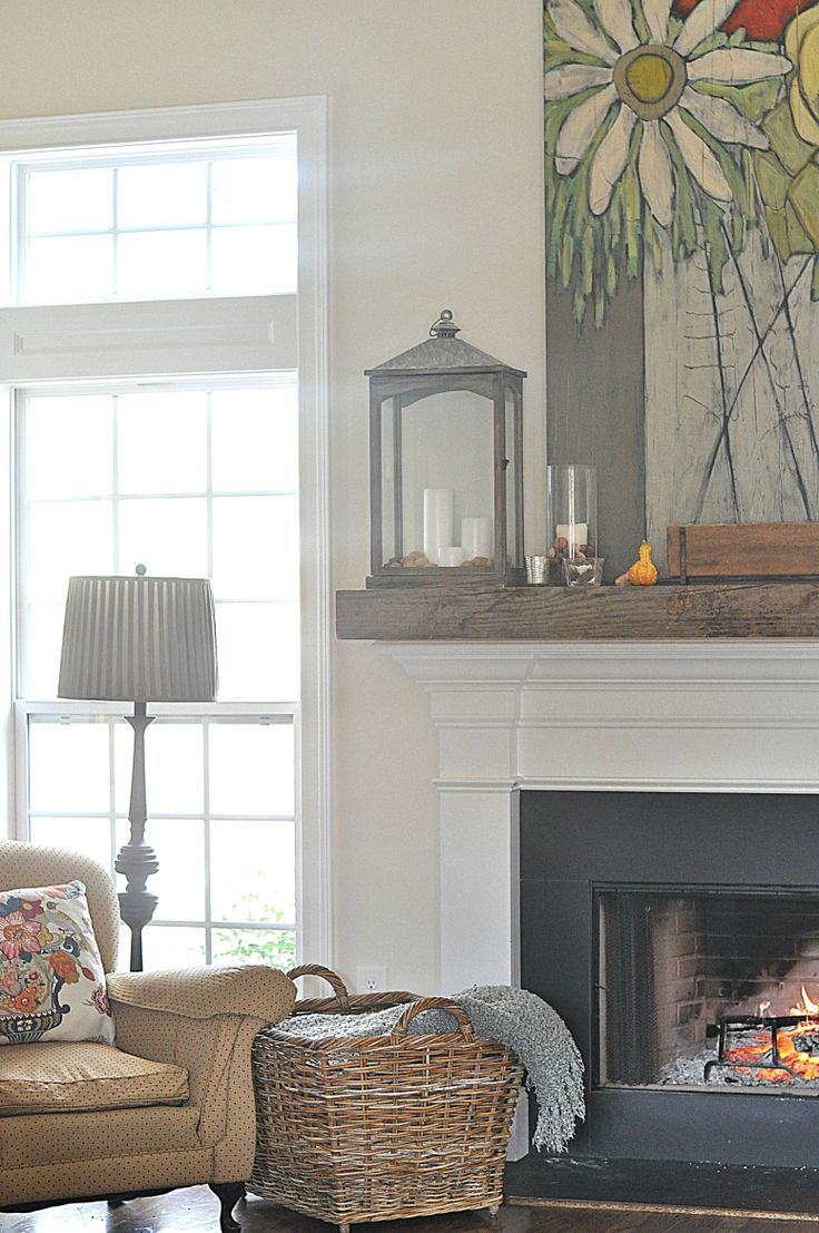 Ooh! Love the idea of adding a chunky reclaimed wood mantle to top the skinnier mantle I have like this one