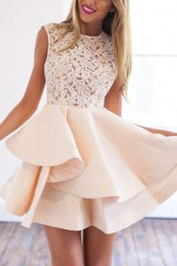 With Zipper Blush Lace Insert Flare Apricot Dress