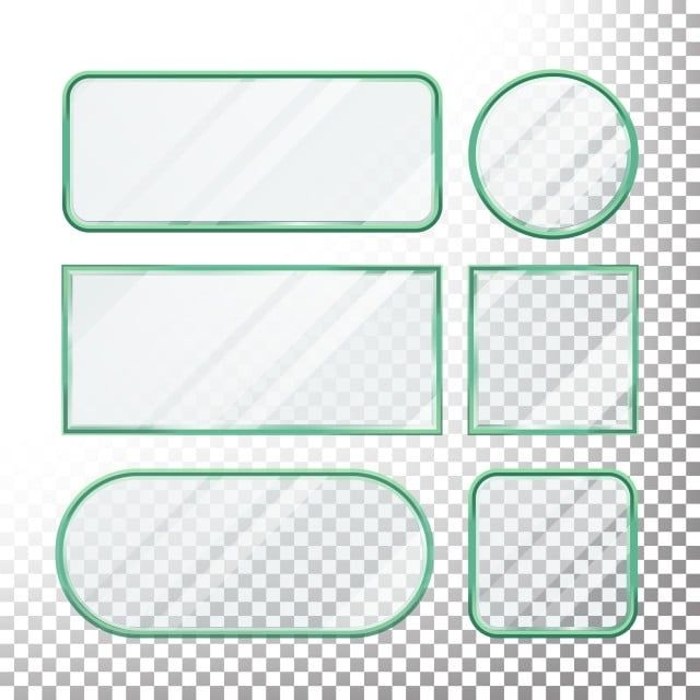 Transparent Glass Buttons Vector Glass Plates Elements Set Square Round Rectangular Shape Realistic Plates Plastic Banners With Reflection Isolated On Transpare Glass Buttons Geometric Background Vector