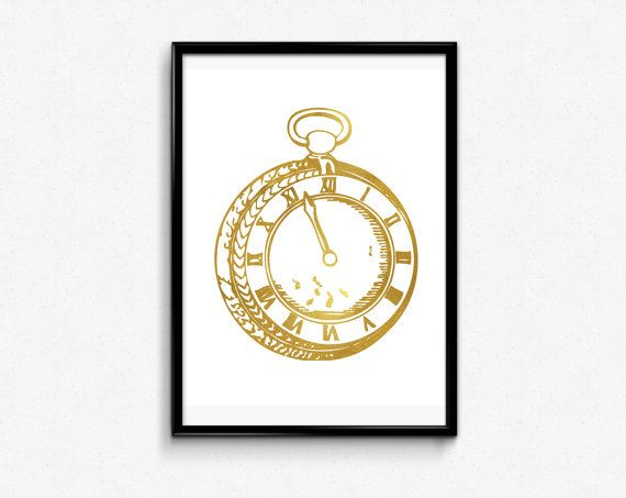 Watch Gold Decor Printable Poster Instant Download Pocket Watch Art