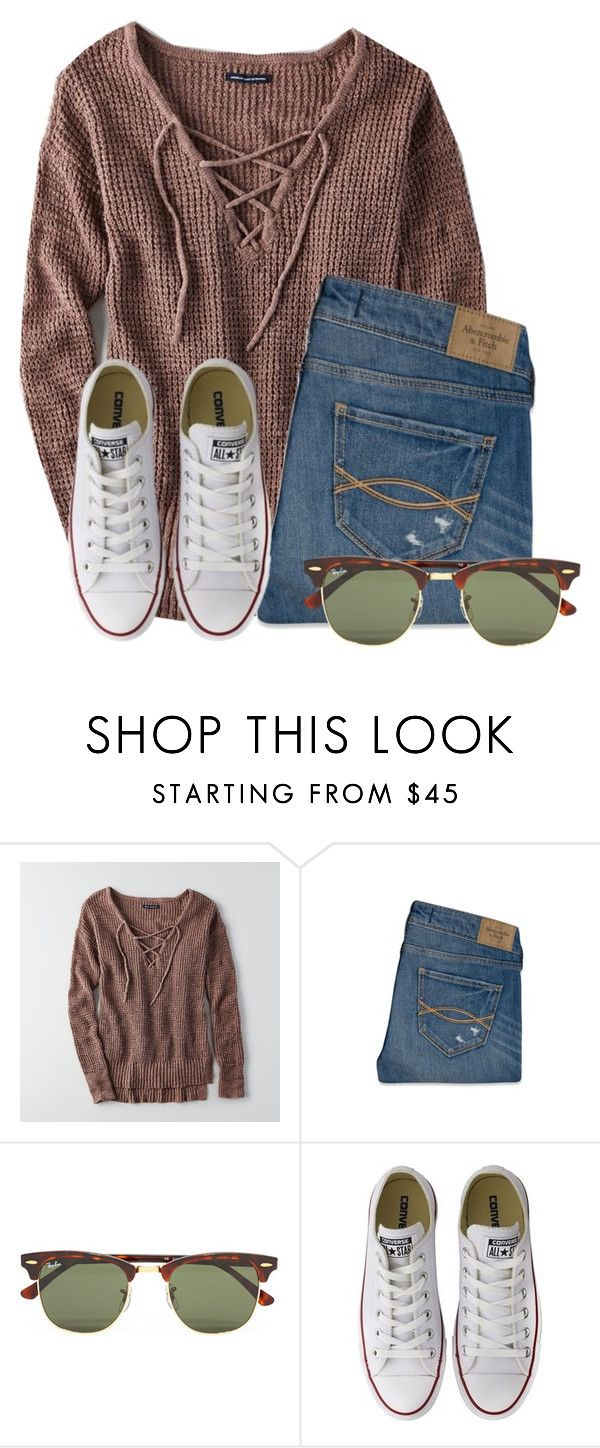 """I like this shirt"" by flroasburn ❤ liked on Polyvore featuring American Eagle Outfitters, Abercrombie & Fitch, Ray-Ban and Converse"