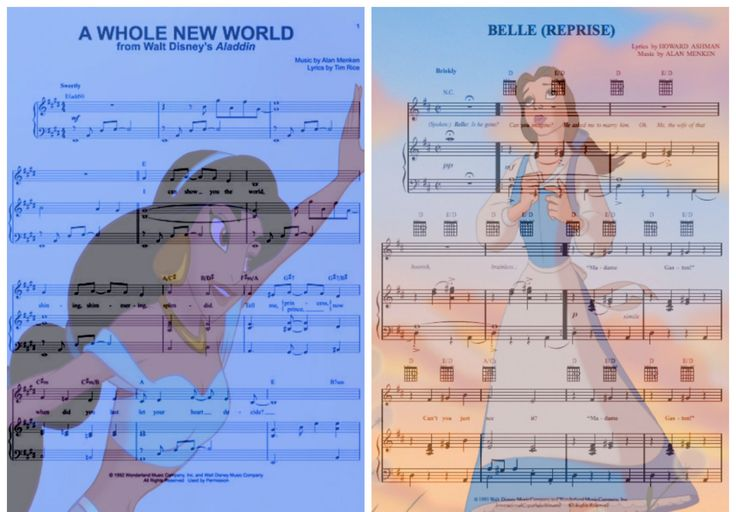 Disney Music - A Whole New World from Aladdin, and Belle (Reprise) from Beauty and the Beast.