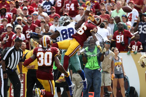 Dez Bryant Photos Photos - Cornerback Bashaud Breeland #26 of the Washington Redskins misses a catch while wide receiver Dez Bryant #88 of the Dallas Cowboys defends in the third quarter at FedExField on September 18, 2016 in Landover, Maryland. - Dallas Cowboys v Washington Redskins