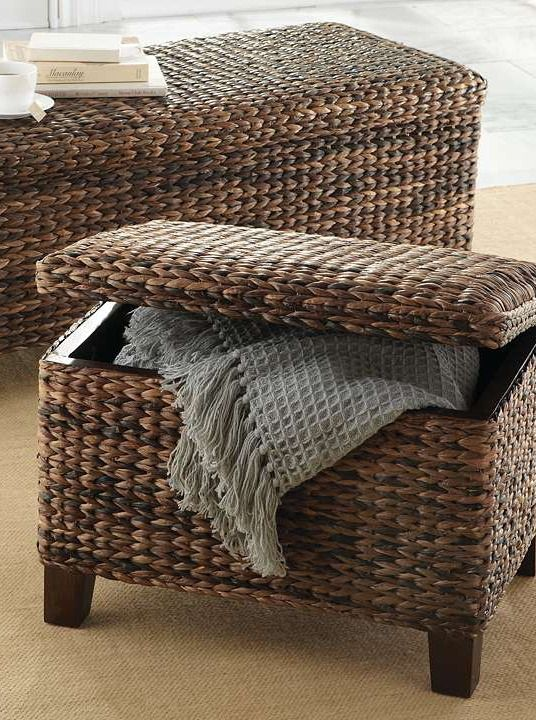 Boasting a handsome and sturdy woven finish the Solano Storage Ottoman serves as a storage unit for the end of your bed, or acts as a stylish ottoman to finish off your seating area.