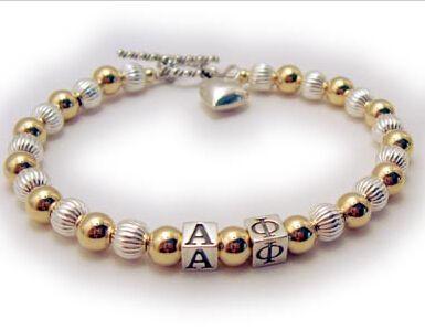 Альфа фи женского общества в форме сердца любовь золото и щепка бусины ювелирные изделия 1 шт.