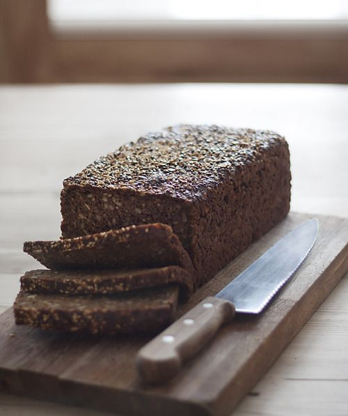 My Danish neighbor makes this rye bread! Nomnomnom...healthy and tasty... great as croutons on autumn soups as well!