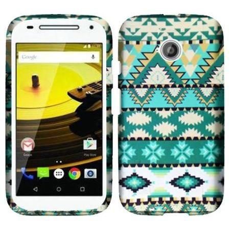 Insten Aztec Hard Cover Case For Motorola Moto E (2nd Gen) - Green/White