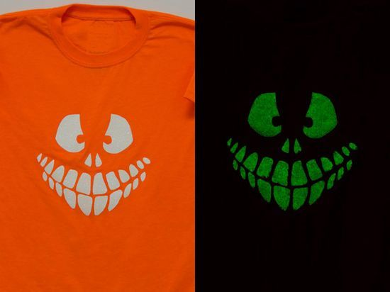 e836b5ba7 #DIY glow in the dark shirts for Halloween! This is the actual glow created  by the combination of glow-in-the-dark paint and glitter. | Halloween!!