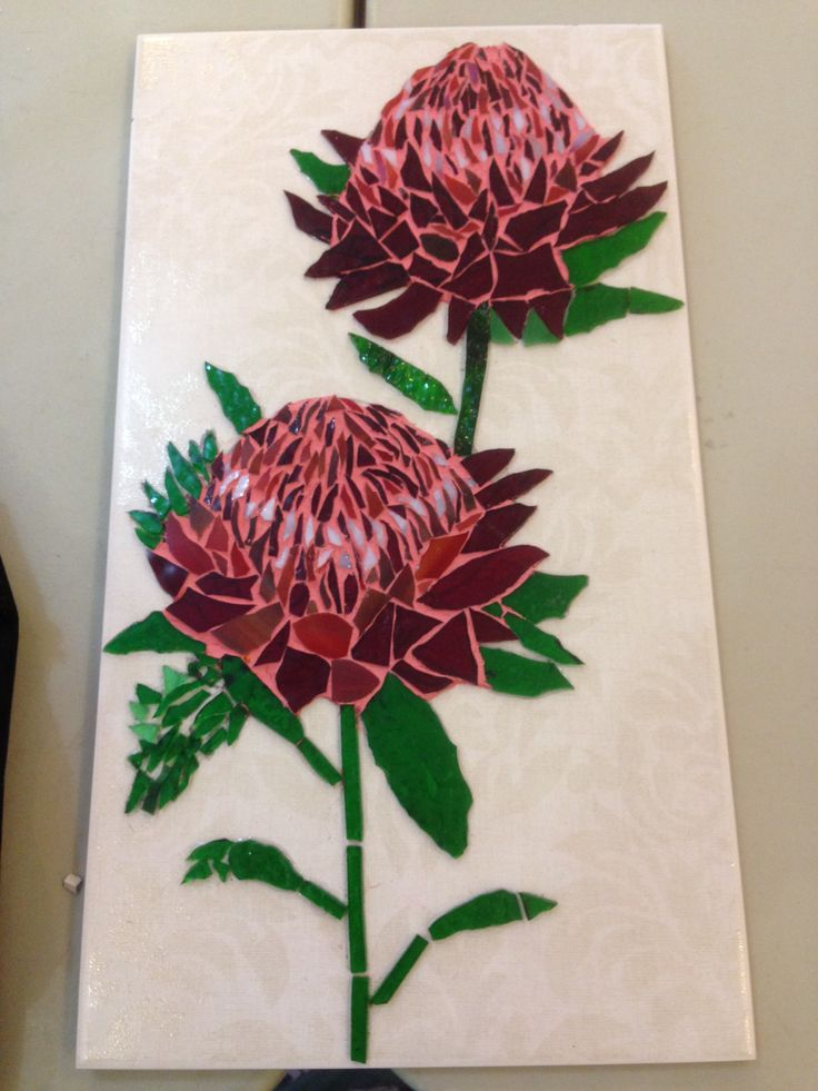 Feb 2015 Waratah flowers waiting for the next mosaic before being hung.