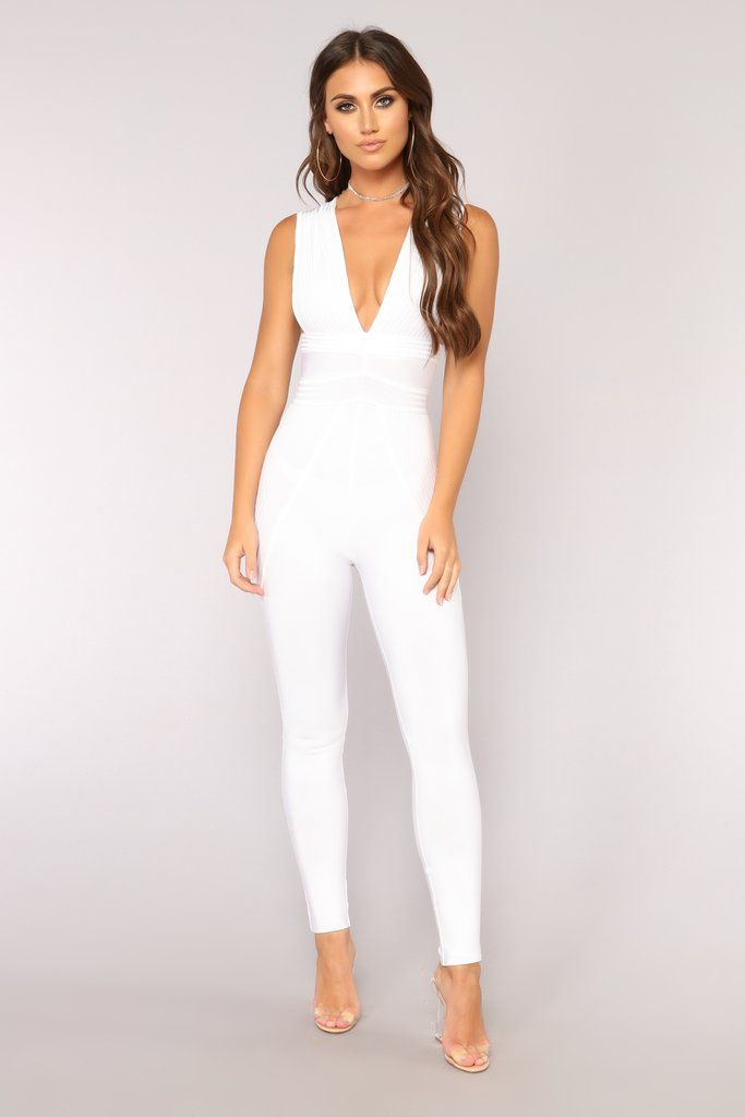 60b59518673 Hot Like Fire Bandage Jumpsuit - White in 2019