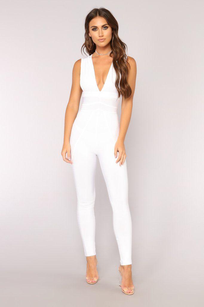 c19b0c95b16 Hot Like Fire Bandage Jumpsuit - White in 2019