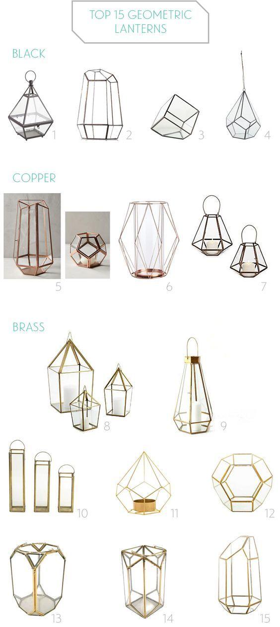 Geometric Lanterns, candle holders, and terrariums for modern weddings / http://www.deerpearlflowers.com/terrarium-geometric-details-ideas/