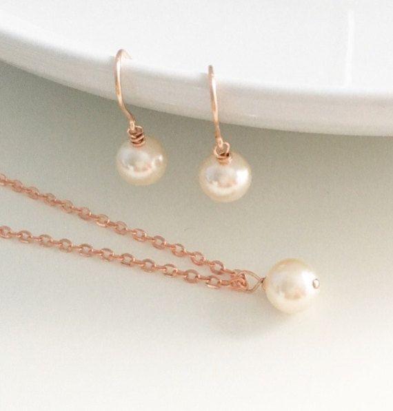 Rose gold earrings Rose gold necklace by CharlotteFarrBridal