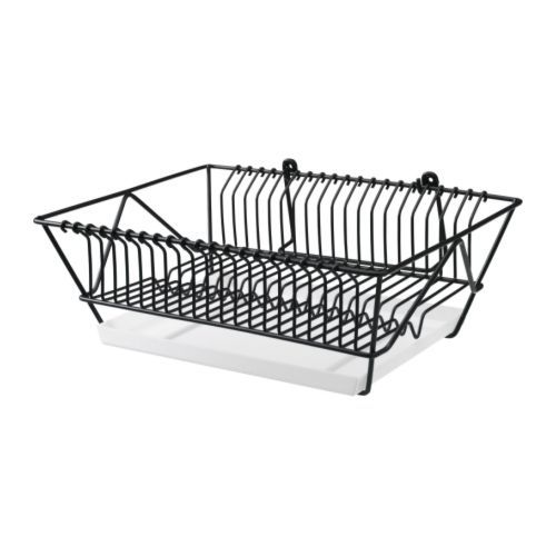 FINTORP Dish drainer IKEA Can be hung on the wall or placed on the countertop. Removable tray underneath to collect water from the drainer. 11.99