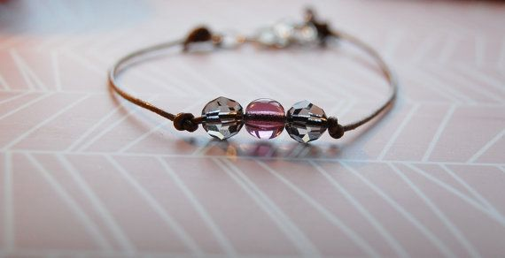 Leather cord bracelet with swarovski crystals semi by AasJewelry