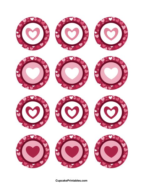Heart cupcake toppers. Use the circles for cupcakes, party favor tags, and more. Free printable PDF download at http://cupcakeprintables.com/toppers/heart-cupcake-toppers/