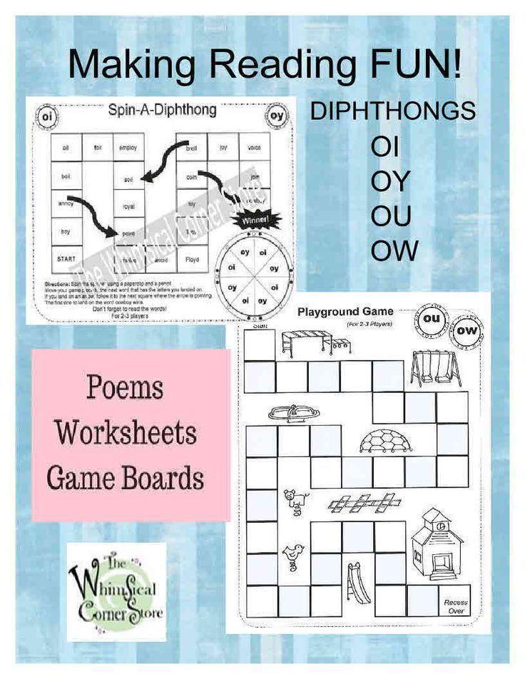Vowel Diphthongs Original Poems Worksheets And Game Boards Vowel Diphthongs Diphthongs Phonics Diphthongs worksheets 3rd grade