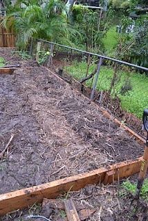 The creation of the vege patch... first bed and path finished.