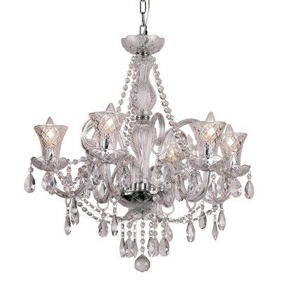 Trans Globe HX 6 6 Light Crystal Chandelier