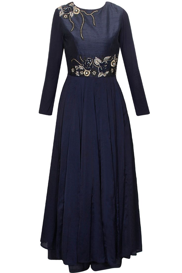 Navy floral embroidered anarkali set available only at Pernia's Pop-Up Shop.