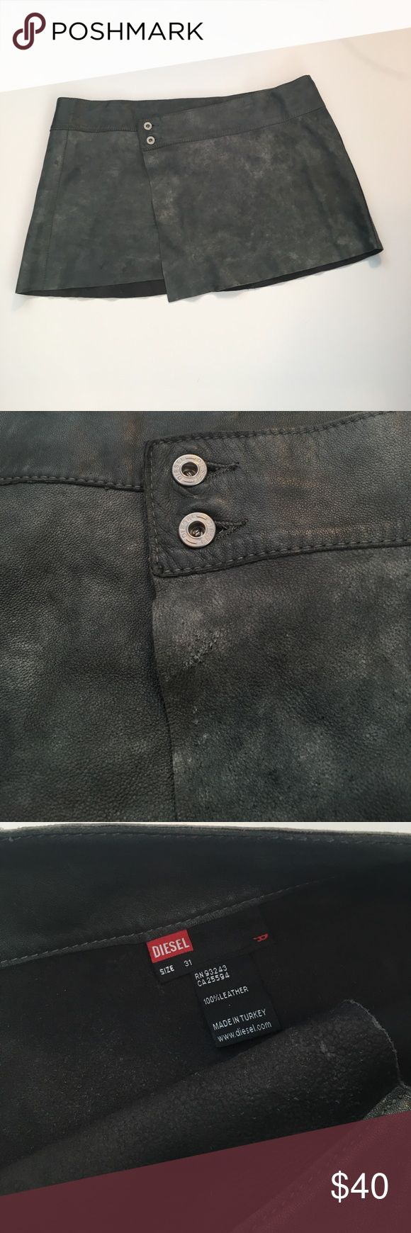 Diesel leather wrap mini skirt Good used condition. Gray beautiful leather perfect for winter for paring with leggings and boots. One small flaw depicted Size 31 Diesel Skirts Mini