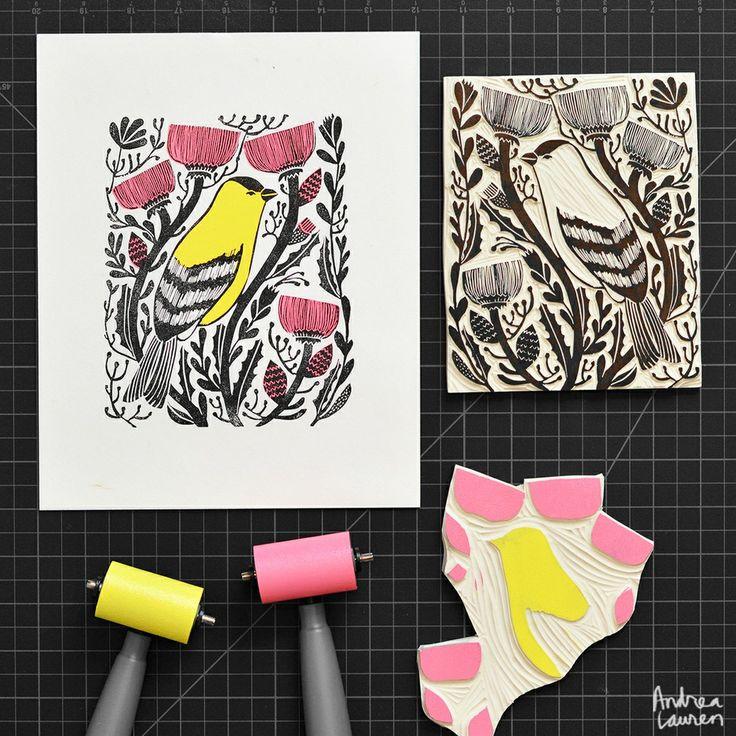Goldfinch: Original Block Print by Andrea Lauren via Andrea Lauren. Click on the image to see more!