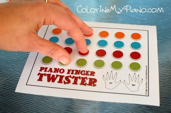 Piano Finger Twister!  A game for practicing RH versus LH and piano fingering 1-5.