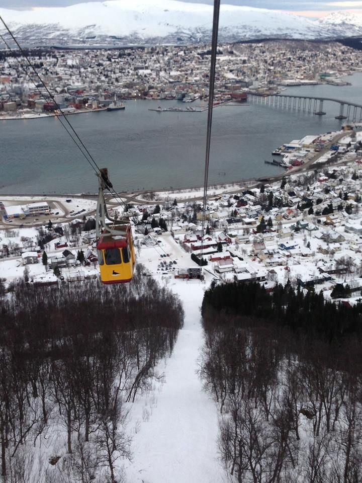 A cable car which took us to the top of one of the mountains in Tromso, amazing views from the top