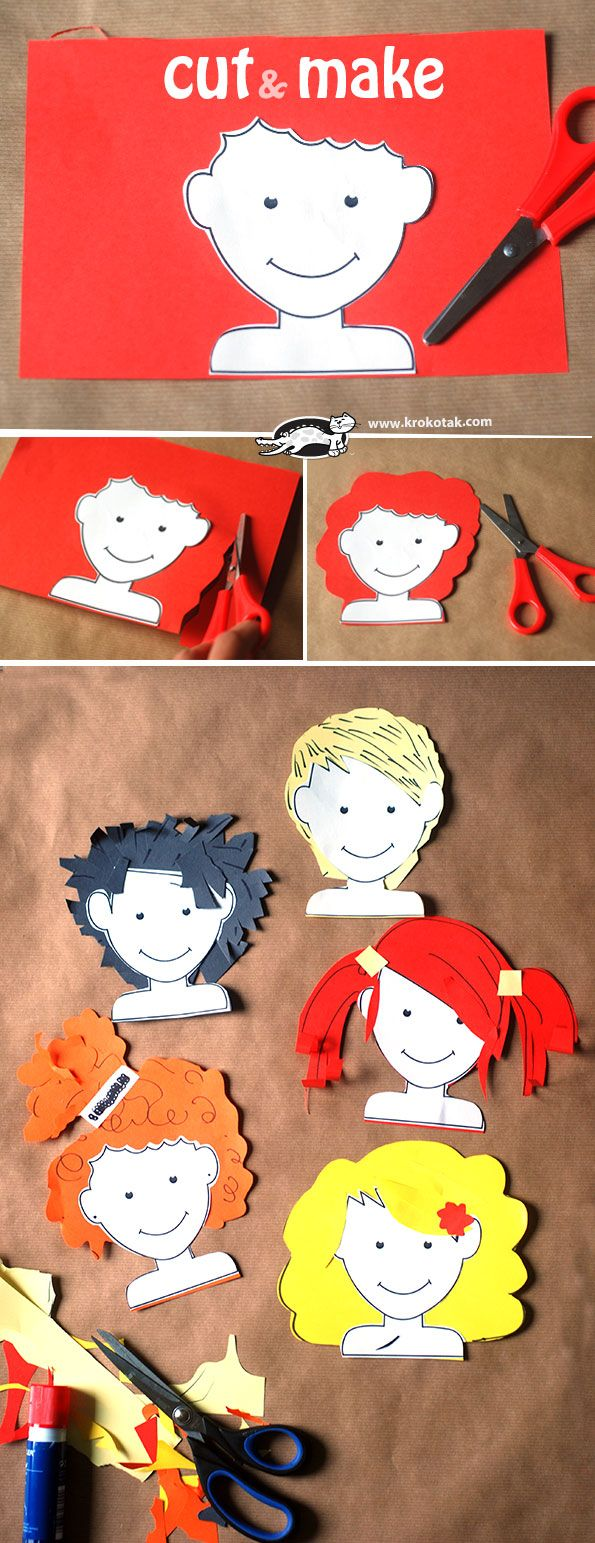 Cut&Make - Free printable heads and instructions to cut out crazy hairstyles.