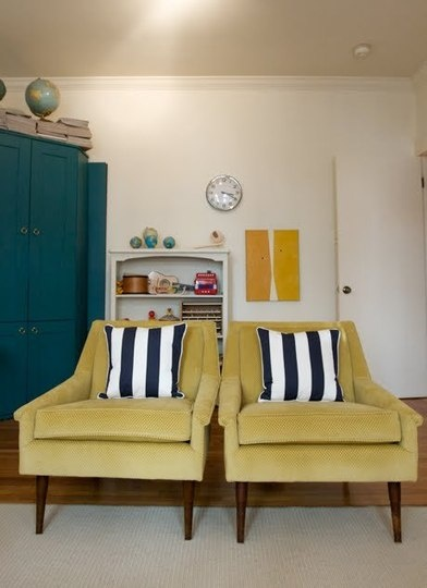 ...Ideas, Living Rooms, Colors, Livingroom, Mustard Chairs, Interiors Design, House, Stripes, Mustard Yellow